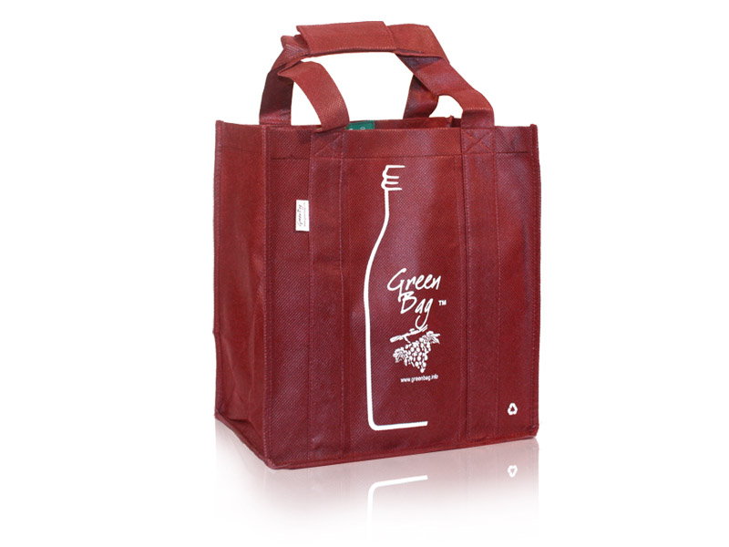 Reusable Wine Bags Green Bag Labeled Six Bottle Wine